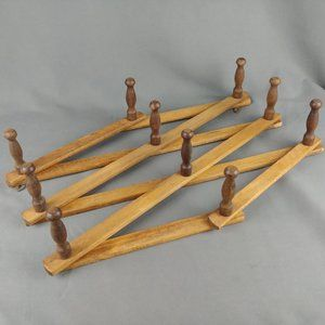 Wood Mug Rack 10 Peg Wall Rack Jewelry 2 Tone